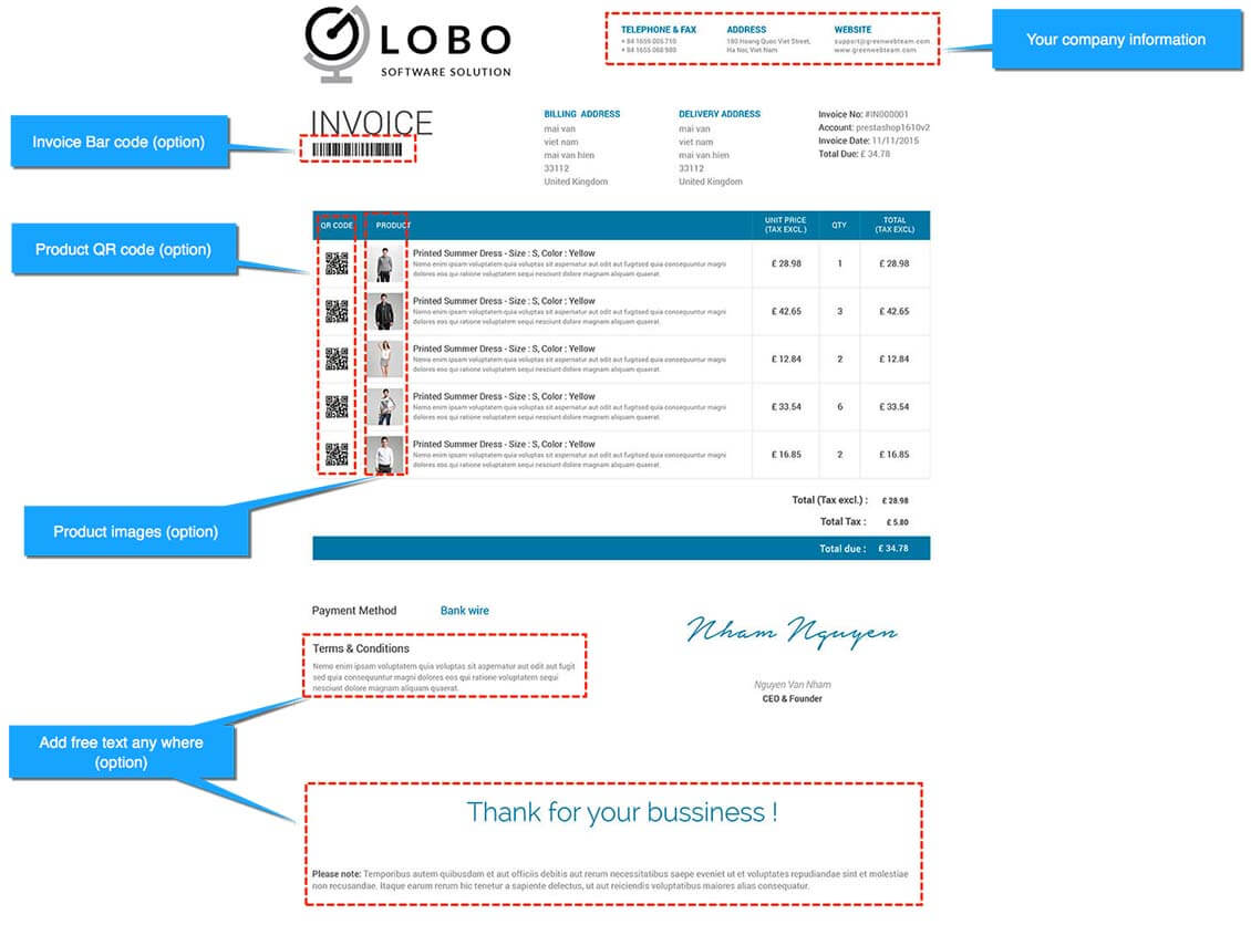 Prestashop Custom Invoice Templates Module Prestashop Modules